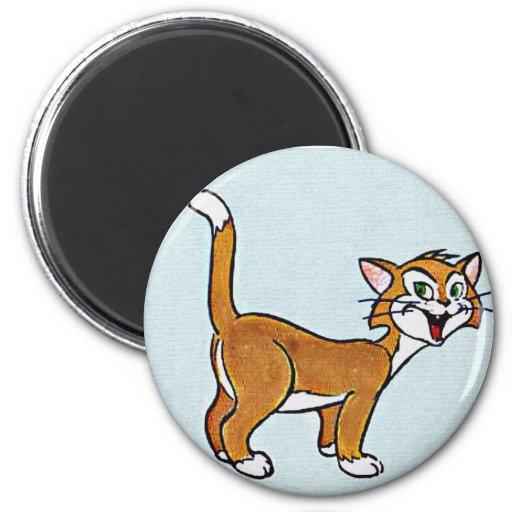 Arte sonriente del dibujo animado del gato imán redondo 5 cm