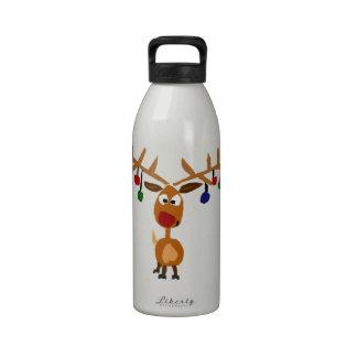 Arte sospechado rojo divertido del navidad del ren botella de beber