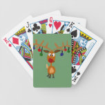Arte sospechado rojo divertido del navidad del ren cartas de juego