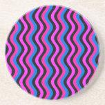 Arte Squiggly azul y negro rosado Posavasos Personalizados