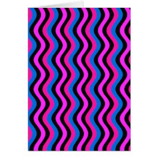 Arte Squiggly azul y negro rosado Tarjeta De Felicitación
