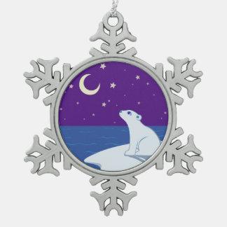 Arte Stargazing de Cub del oso polar Adorno De Peltre En Forma De Copo De Nieve