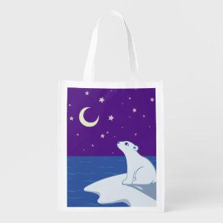 Arte Stargazing de Cub del oso polar Bolsa Reutilizable