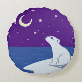 Arte Stargazing de Cub del oso polar Cojín Redondo