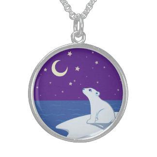 Arte Stargazing de Cub del oso polar Collares De Plata Esterlina