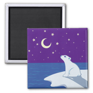 Arte Stargazing de Cub del oso polar Imán De Frigorífico