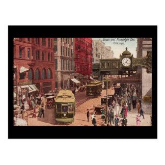 Arte-State y Randolph 1940 de Chicago del Postal-V
