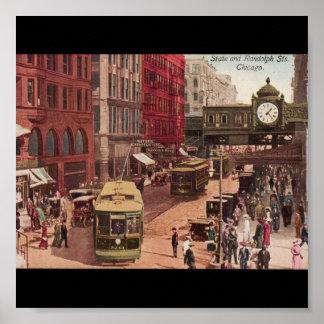 Arte-State y Randolph 1940 de Chicago del Poster-V