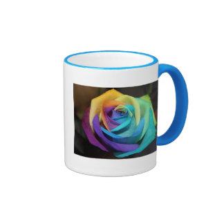 Arte subió arco iris del amor de la ducha del fies taza de café
