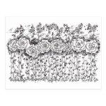 Arte subió postal blanco y negro del jardín de flo