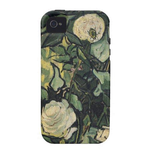 Arte subió vintage de los rosas blancos de Vincent Vibe iPhone 4 Carcasas
