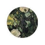 Arte subió vintage de los rosas blancos de Vincent Relojes De Pared