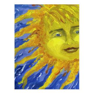 Arte, Sun amarillo brillante en cielo azul Postales