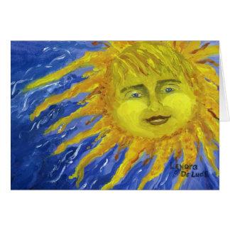 Arte, Sun amarillo brillante en cielo azul Tarjeta De Felicitación