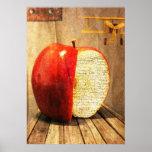 arte surrealista de la manzana y del avión poster