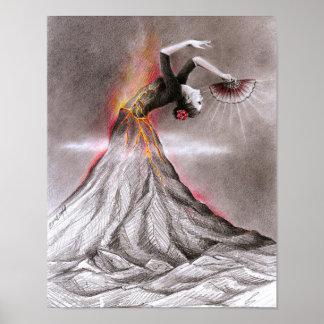 Arte surrealista del lápiz del volcán de la mujer póster