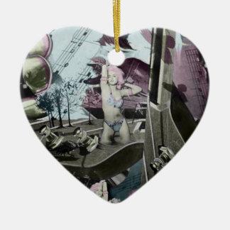 Arte surrealista del paisaje de la guitarra en adorno navideño de cerámica en forma de corazón