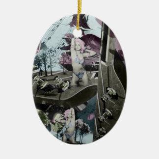 Arte surrealista del paisaje de la guitarra en adorno navideño ovalado de cerámica