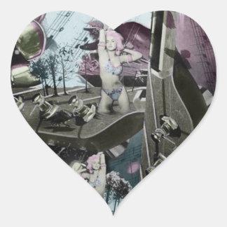 Arte surrealista del paisaje de la guitarra en pegatina en forma de corazón