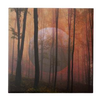 Arte surrealista del paisaje del planeta del azulejo cuadrado pequeño