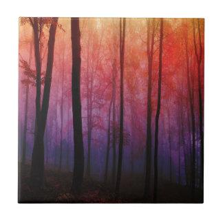 Arte susurrante del paisaje del bosque de los azulejo cuadrado pequeño