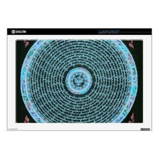 Arte tibetano de la mandala del fuego azul skins para portátiles