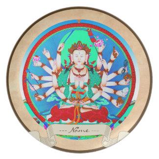 Arte tibetano oriental clásico del tatuaje de dios platos de comidas