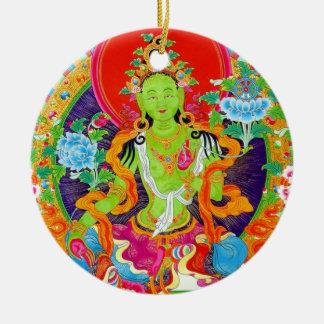 Arte tibetano oriental fresco del tatuaje de dios adorno navideño redondo de cerámica
