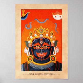 Arte tibetano oriental fresco del tatuaje de dios  poster