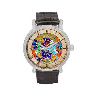 Arte tibetano oriental fresco del tatuaje de dios  reloj de mano