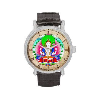Arte tibetano oriental fresco del tatuaje de dios  reloj