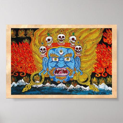 Arte tibetano oriental fresco del tatuaje del demo posters