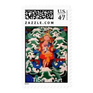 Arte tibetano original sellos postales