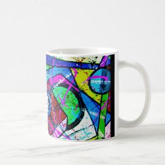 Arte-Título abstracto: Tinte Juglar-Verde Taza Básica Blanca
