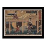 Arte-Toyokuni japonés Utagawa 9 del Postal-Vintage