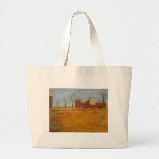 Arte tradicional de la pradera de la granja del pa bolsa tela grande