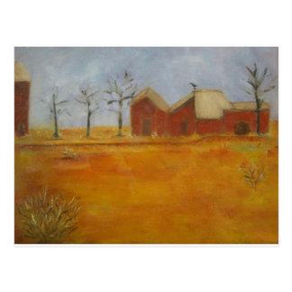 Arte tradicional de la pradera de la granja del pa tarjetas postales