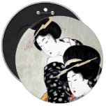 Arte tradicional japonés oriental fresco del geish pin redondo 15 cm