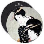 Arte tradicional japonés oriental fresco del pin redondo de 6 pulgadas