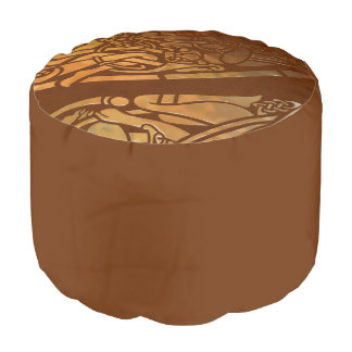 Arte tribal de Brown Suade del Celtic Puf Redondo