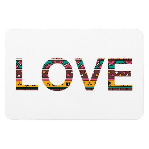 Arte tribal de la palabra del amor imanes de vinilo