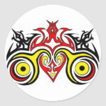 Arte tribal del corazón etiquetas redondas