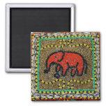 Arte tribal nativo del elefante del Dayak Iman Para Frigorífico