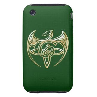 Arte trino de los nudos del Celtic del oro y del iPhone 3 Tough Fundas