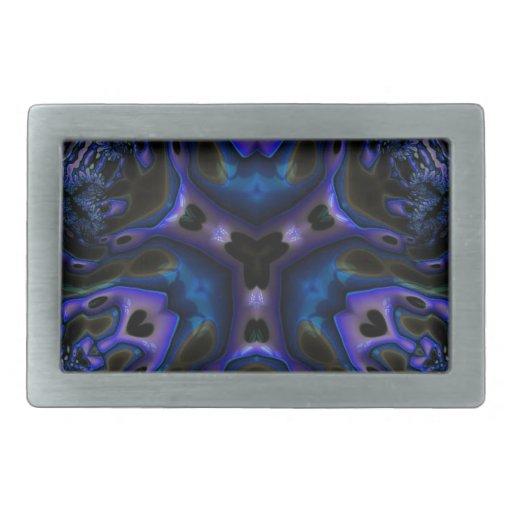 Arte Trippy del fractal de Blue/BLK Hebilla Cinturón Rectangular