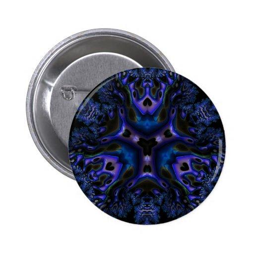 Arte Trippy del fractal de Blue/BLK Pin Redondo De 2 Pulgadas