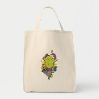 arte triste del monstruo y del dibujo animado del  bolsas de mano