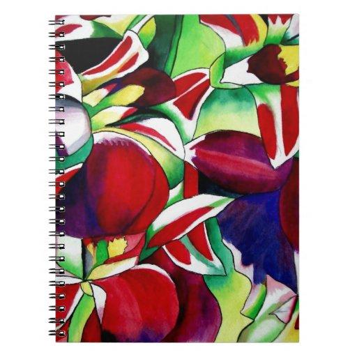 Arte tropical carmesí de la flor de las orquídeas  libro de apuntes