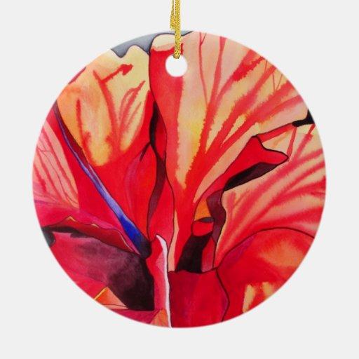 Arte tropical de la acuarela de la flor del adorno redondo de cerámica