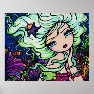Arte tropical de la fantasía de la sirena de Nelli Póster